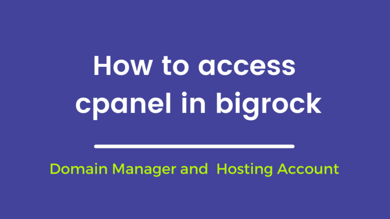 How to access cpanel in bigrock